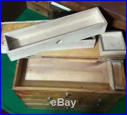 Antique Burl Wood Dovetail Jewelry Box Brass Pulls Hinges SECRET DRAWER