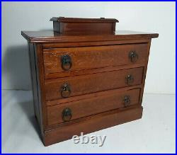 Antique CURTIS Wooden Jewelry 3-Drawer Chest Spool Cabinet Mission Arts & Crafts