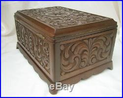 Antique Carved Wood Jewelry Trinket or Sewing Box withTray Large EXCELLENT