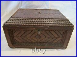 Antique Carved Wood Treen Treasure Jewellery Box Tramp Art 1900