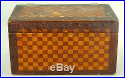 Antique Checkered Inlaid Marquetry Wood Jewelry Trinket Box
