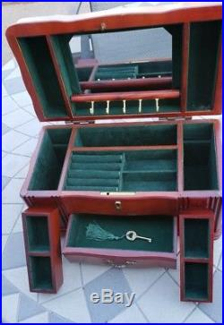 Antique Cherry Wooden Multi-Drawer Jewelry Box with Key