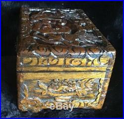 Antique Chinese Carved Huanghuali Wood Jewelry Box, Foo Dogs, Bat, Flowers