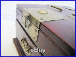 Antique Chinese Export Cosmetic Jewelry Chest Wood Box With Mirror
