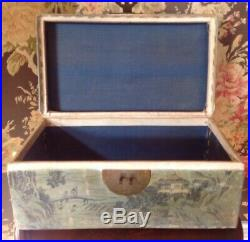 Antique Chinese Export Hand Painted Pigskin Sewing Box Jewelry Chest Brass 13W