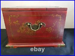Antique Chinese Pheasant Lacquer Jewelry Vanity Box Mirror Drawers Lock RARE