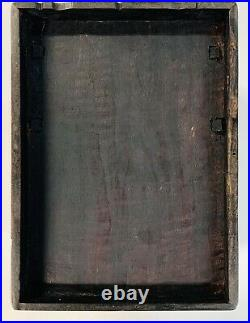 Antique Chinese Wood Brass Mother of Pearl Vanity Jewelry Box Fold-up Mirror