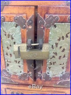 Antique Chinese Wood Jewelry Box Cabinet Jade & Etched Brass, Door Locker # 165