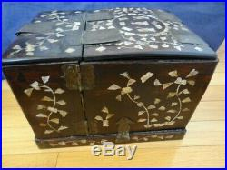 Antique Chinese Wood Mother Of Pearl Inlay Vanity Jewelry Box With Mirror