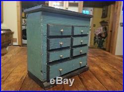 Antique Cigar Box Jewelry Treasure Box Handmade Primitive Folk Art