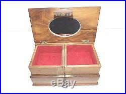 Antique Circa 1880-1910 Sorrento Ware Inlaid Olive Wood Jewellery Box With Key