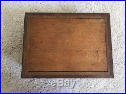 Antique Civil War Era Cherry & Oak Spiral Wooden Inlaid Jewelry Trinket Box