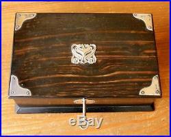 Antique Coromandel Wood & Silver Jewellery Trinket Table Box. Hallmarked 1901