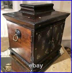Antique Early Mother of Pearl Inlaid Table Cabinet Jewelry Box W Lap Desk c. 1830