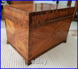 Antique Edwardian Era Kingwood And Tulipwood Jewelry Box