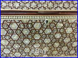 Antique Egyptian Jewelry Box Inlaid Mother of Pearl &Tortoise Back (22x14.4)