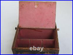 Antique English Chinoise Painted Wood small Jewelry Box with Drawer