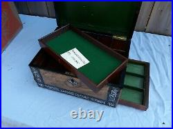 Antique English Exotic Wood Inlaid Jewelry or Dresser Box