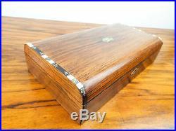 Antique English Inlaid Mahogany Playing Cards Box Wood Edwardian Jewelry 1900s
