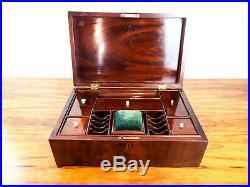 Antique English Mahogany Wood Sewing Box Jewelry Box Victorian Travel Case 1870s