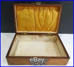 Antique English OAK JEWELRY (JEWEL) Box with ORNATE METAL WORK