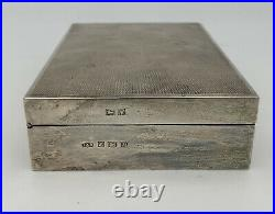 Antique English Sterling Silver Cigarette Case Jewelry Cigar Box Wood Lined 346g