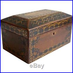 Antique English Victorian Tunbridgeware Walnut Inlaid Jewelry Box 19th century
