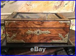 Antique English Walnut & Brass Beveled Glass Jewelry Box London c. 1860