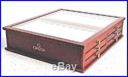 Antique Fine Omega Watch Strap Jewellery Display Box Cabinet Mahogany Wood Shop