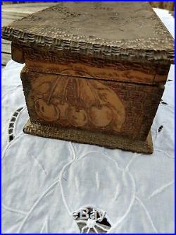 Antique Flemish Art Co. Pyrography Jewelry Keepsake Box Cherries Tm Logo 778