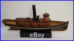 Antique Folk Art Boat Shape Box Jewelry Box Early 20th Century