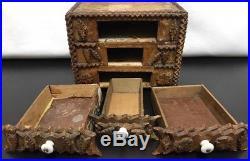 Antique Folk Tramp Art Jewelry Carved Cigar Box Original Mirror Porcelain Knobs