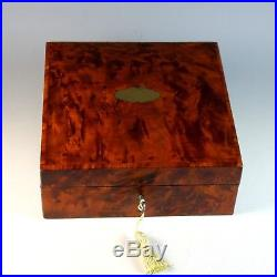 Antique French Amboyna Burl Jewelry Box with Brass Center Medallion
