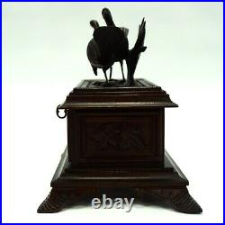 Antique French Black Forest Wood Hand Carved Jewelry Box w Birds Lock & Key Work