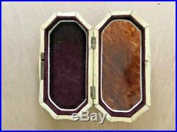 Antique French Georgian Faux tortoise shell bone box trinket jewelry box 19th c