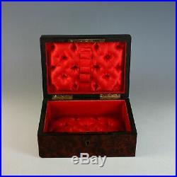 Antique French Inlaid Amboyna Burl Wood Jewelry Box