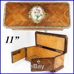 Antique French Kingwood Desktop or Jewelry, Documents Box, Casket, Parquet Work