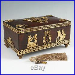 Antique French Napoleon III Empire Gilt Bronze Ormolu Wood Jewelry Box Lock Key