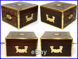 Antique French Rosewood & Brass 8.75 Jewelry, Work or Table Box, Crown Monogram