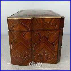 Antique French jewelry box tulip wood brass inlaid & exotic wood inlaid