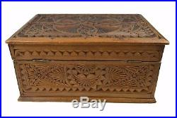 Antique Frisian Chip Carved Jewelry Chest, Box, Dutch