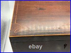 Antique Georgian Mahogany Table Top Box Wood Storage Jewellery Jewelry Sewing