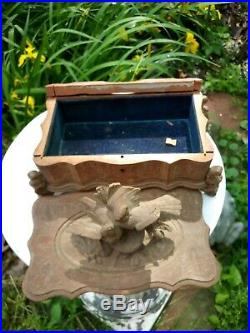 Antique German Black Forest Carved Nesting Birds Jewelry Box