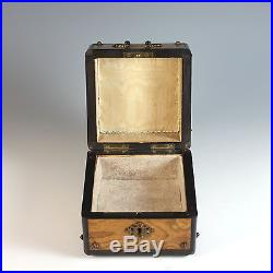 Antique Grand Tour Wood Trinket Jewelry Box with Medallion