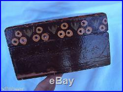 Antique HAND PAINTED Russian WOODEN Hinged BOX Jewelry Trinkets cigars