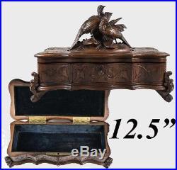 Antique HC Black Forest Glove or Document, Jewelry Box, Casket, Pheasants, Key