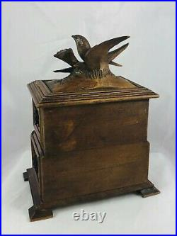 Antique Hand Carved Wood Black Forest Jewelry Box Chest 2 Tier Birds Doves