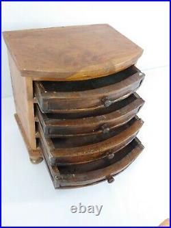 Antique Handmade Wood Folk Art / Salesman Sample Jewelry Chest Dresser 10x9x6