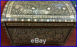 Antique Handmade Wood Jewelry Box Inlaid Mother of Pearl (16.8x10.8x12)