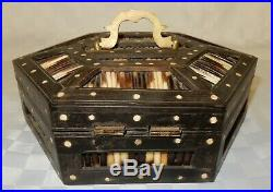 Antique Hinged Octagonal Indian Porcupine Quill Jewellery Trinket Box (c1350A)